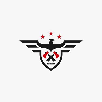 Vector Illustration American Eagle Builder Badge Style.