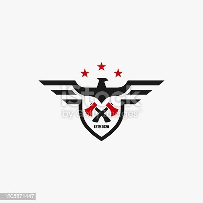 Vector Illustration American Eagle Builder Badge Style.