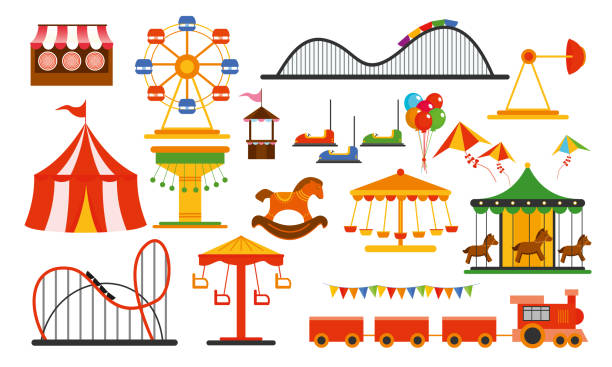 vector illustration amusement park elements on white background. family rest in rides park with colorful ferris wheel, carousel, circus in flat style. - roller coaster stock illustrations