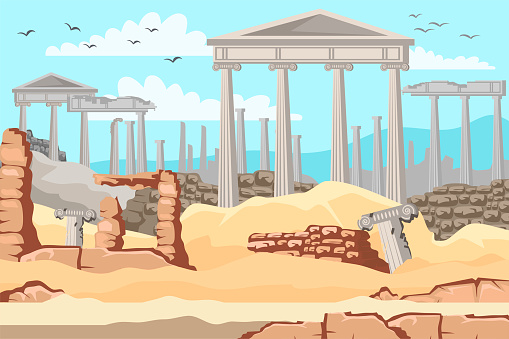 Vector flat illustration of open air museum of ancient Greece. Antique marble columns, old ruin of Greek city or Roman empire historical architecture. Background for web pages, mobile app and games