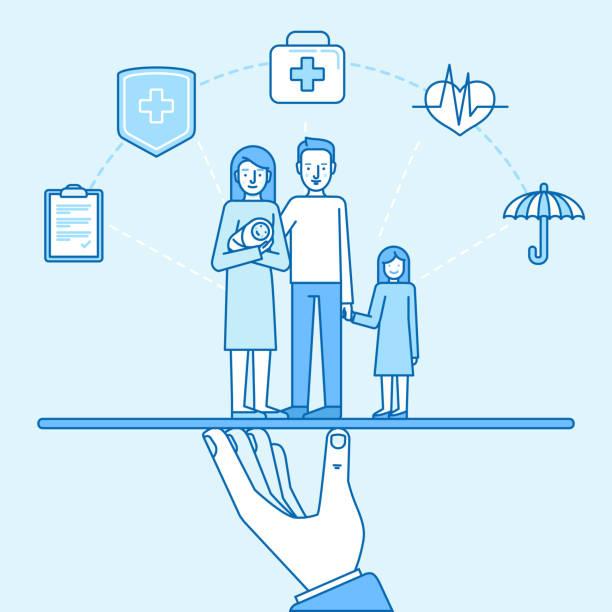 illustrazioni stock, clip art, cartoni animati e icone di tendenza di vector illustration and infographics design elements in modern flat linear style - health and family  insurance concept - donna si nasconde