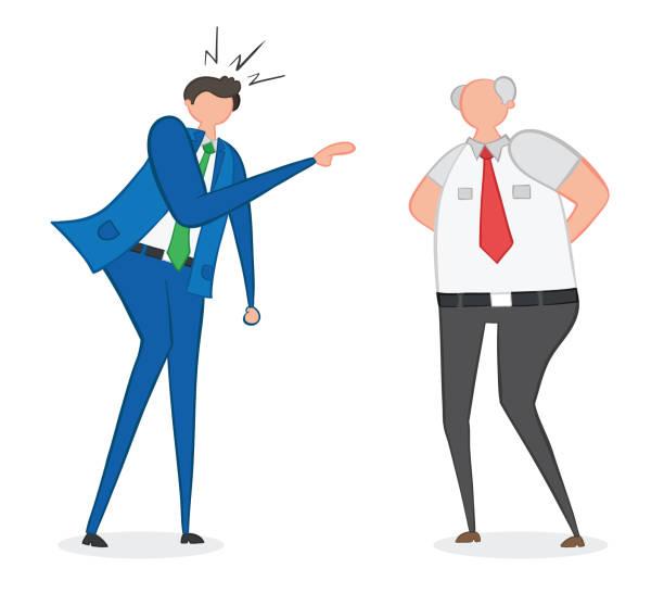 Vektor-Illustration wütend Geschäftsmann und Chef. Von Hand gezeichnet. – Vektorgrafik