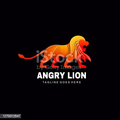 istock Vector Illustration Angry Lion Gradient Colorful Style. 1270012547