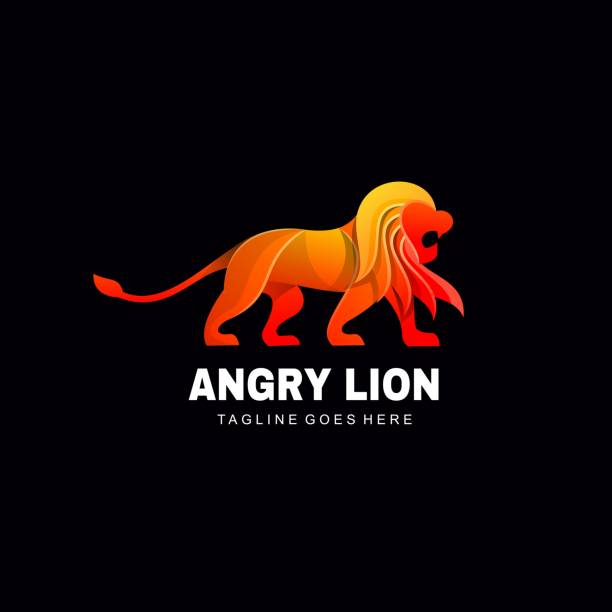Vector Illustration Angry Lion Gradient Colorful Style. Vector Illustration Angry Lion Gradient Colorful Style. lion feline stock illustrations