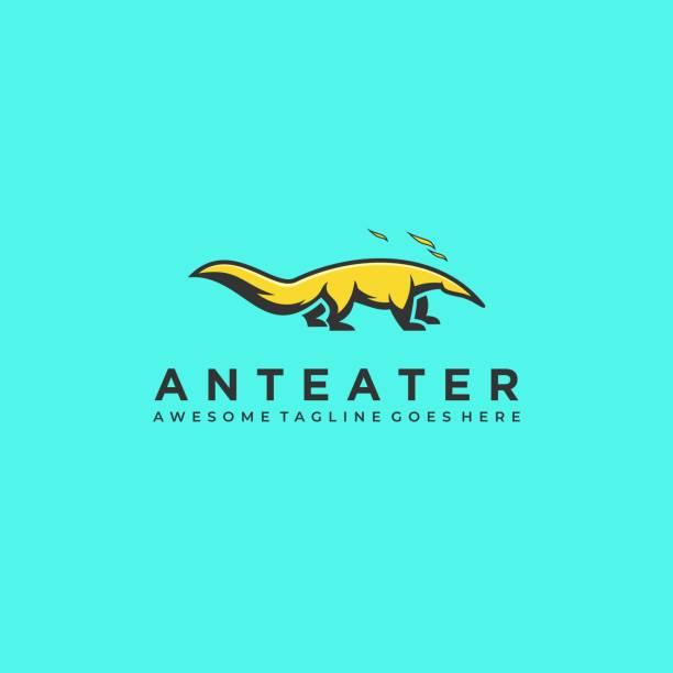 vektor-illustration anteater maskottchen cartoon. - ameisenbär stock-grafiken, -clipart, -cartoons und -symbole