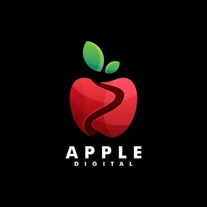 Vector Illustration Apple Gradient Colorful Style.