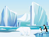 Vector illustration arctic landscape with polar bear and penguins, iceberg and mountains. Cold climate winter background.