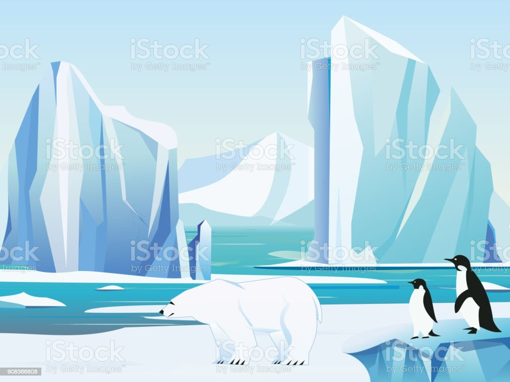 Vector illustration arctic landscape with polar bear and penguins, iceberg and mountains. Cold climate winter background. vector art illustration