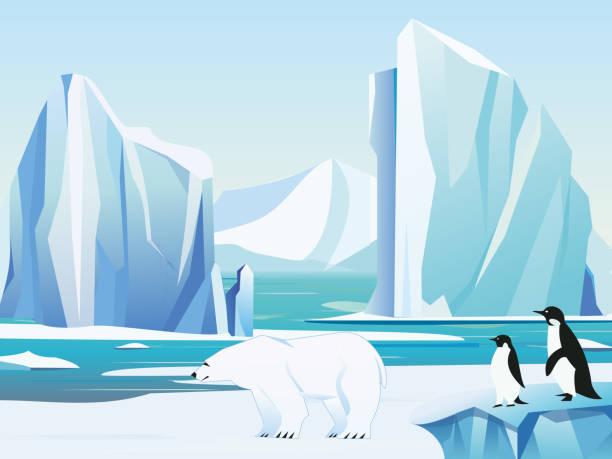 Vector Illustration arktische Landschaft mit Eisbären und Pinguine, Eisberg und Bergen. Kaltes Klima Winter Hintergrund. – Vektorgrafik