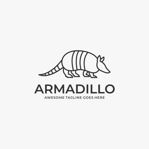 Vector Illustration Armadillo Walking Line Art. Vector Illustration Armadillo Walking Line Art. mammal stock illustrations