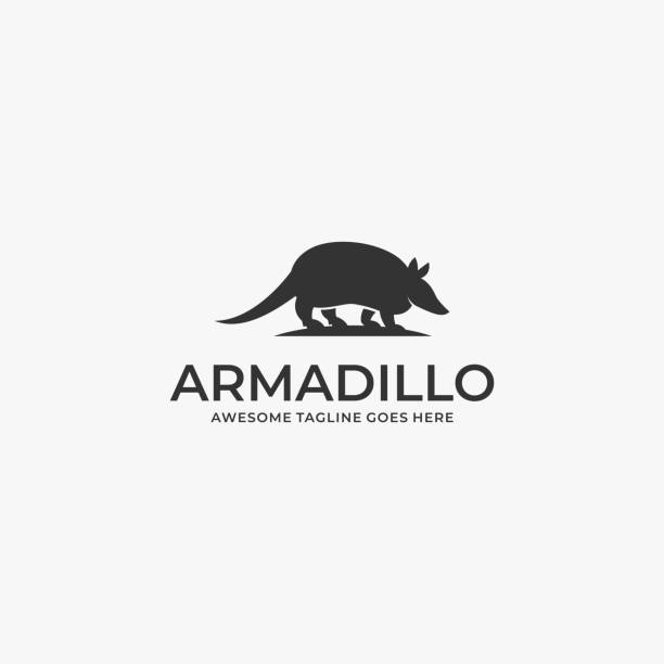 Vector Illustration Armadillo Walking Silhouette. Vector Illustration Armadillo Walking Silhouette. mammal stock illustrations