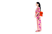 Vector Illustration Art / Icon of A Beautiful Japanese Lady or Geisha in Traditional Kimono Costume.  Isolated on White Background with Copy Space for Text.