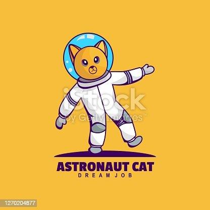 istock Vector Illustration Astronaut Cat Simple Mascot Style. 1270204877