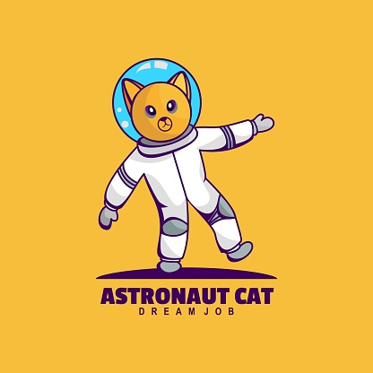 Vector Illustration Astronaut Cat Simple Mascot Style.