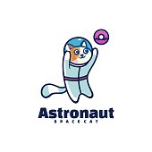Vector Illustration Astronaut Simple Mascot Style.