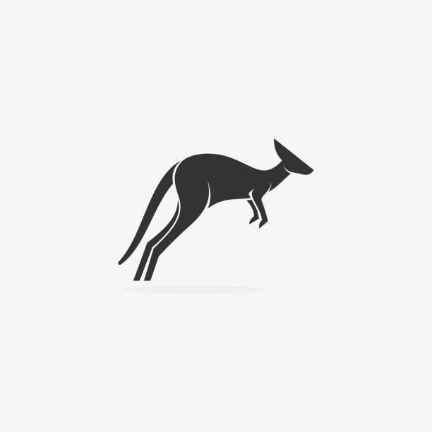 bildbanksillustrationer, clip art samt tecknat material och ikoner med vektor illustration australiska känguru silhuett. - abstract silhouette art
