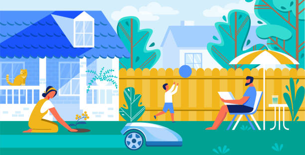 stockillustraties, clipart, cartoons en iconen met vector illustratie geautomatiseerde gazonmaaier cartoon. - garden house