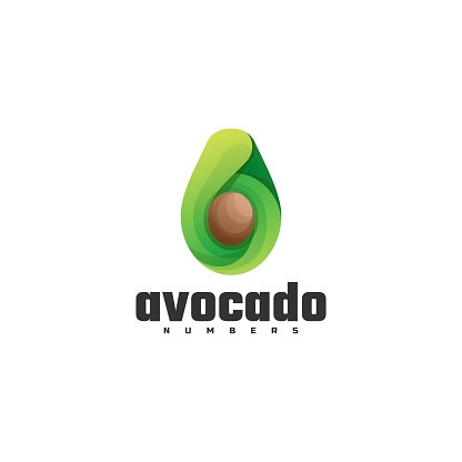 Vector Illustration Avocado Gradient Colorful Style.