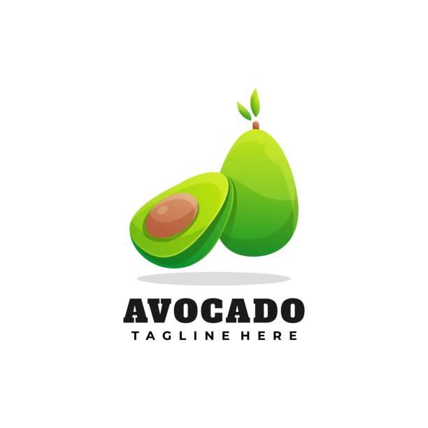 Vector Illustration Avocado Gradient Colorful Style. Vector Illustration Avocado Gradient Colorful Style. avocado symbols stock illustrations