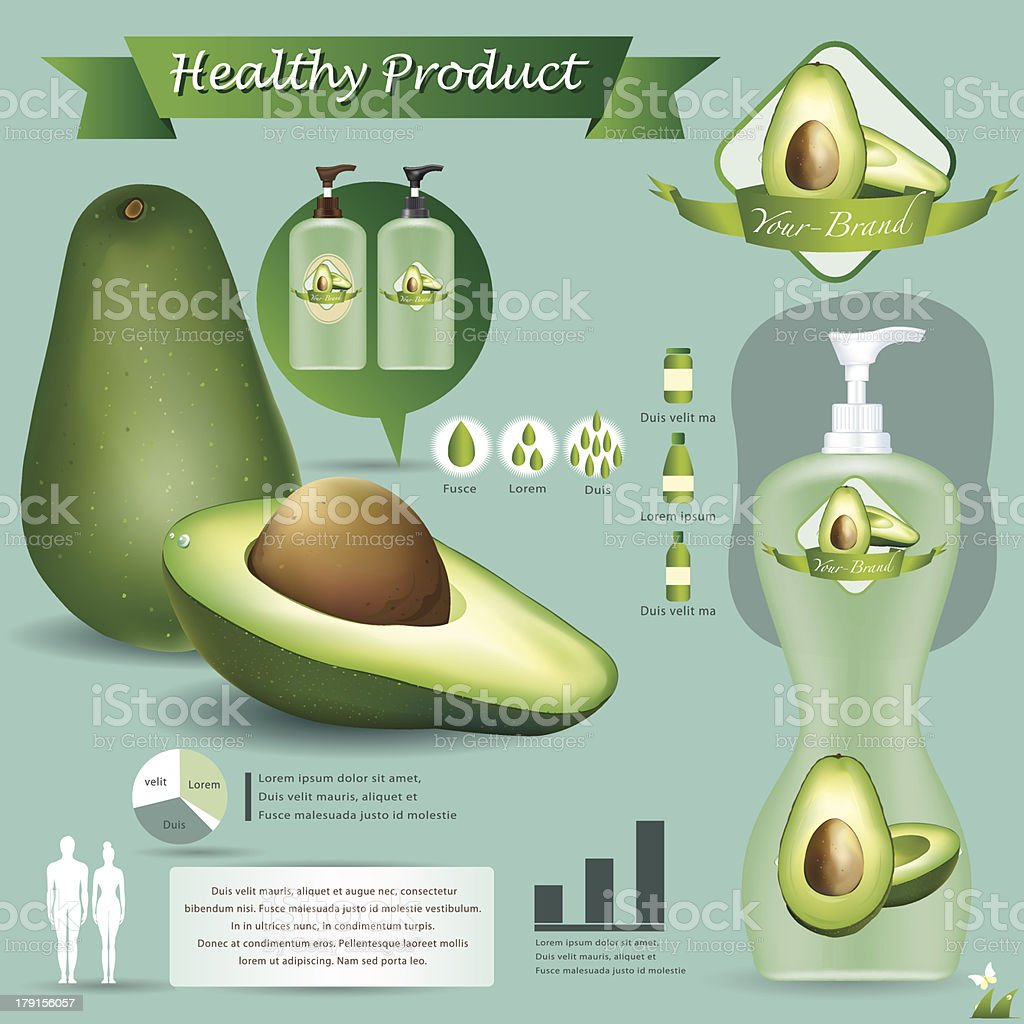 Vector illustration. Avocado  package.infographics royalty-free stock vector art