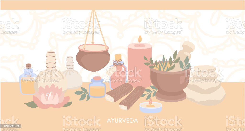 Vector Illustration Ayurveda Horizontal Web Banner Design With Objects For Ayurvedic Massage Stock Illustration Download Image Now Istock