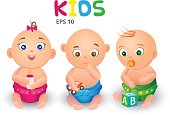 Vector illustration babies in diapers with toys. Happy, pensive, cute small children on the white background.