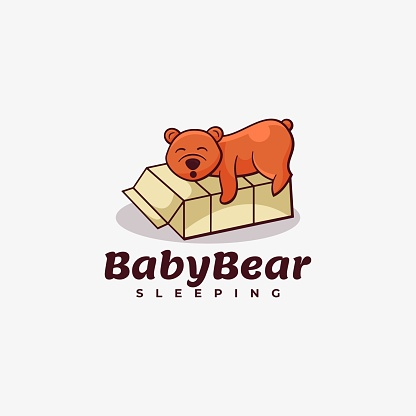 Vector Illustration Baby Bear Simple Mascot Style.