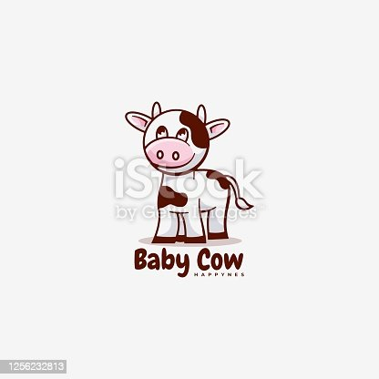 istock Vector Illustration Baby Cow Simple Mascot Style. 1256232813