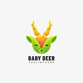 istock Vector Illustration Baby Deer Gradient Colorful Style. 1283116923