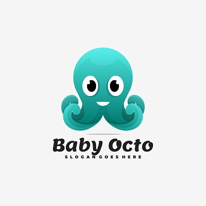 Vector Illustration Baby Octopus Gradient Colorful Style.