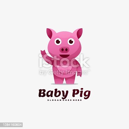 istock Vector Illustration Baby Pig Gradient Colorful Style. 1284160604