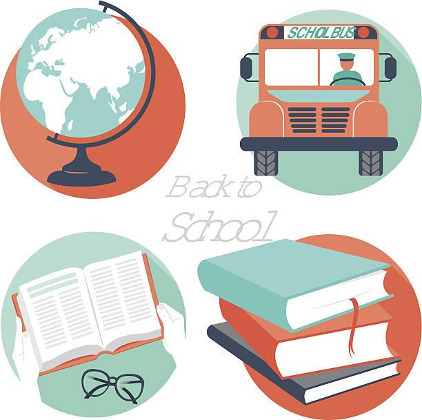 vektor-illustration zurück zu schule-icons - reiseliteratur stock-grafiken, -clipart, -cartoons und -symbole