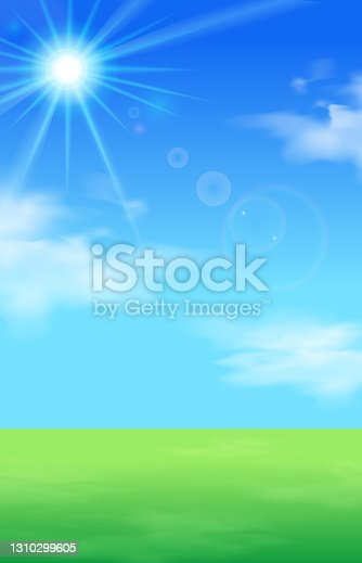 istock Vector illustration background of blue sky, clouds, lawn and sunlight (landscape) 1310299605