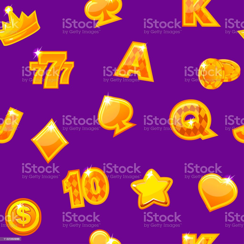 Background with gold casino icons on purple, seamless repeating...