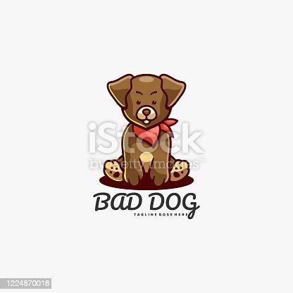 istock Vector Illustration Bad Dog Mascot Cartoon Style. 1224870018