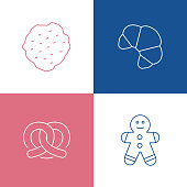 Vector Illustration Bakery and Patisserie Related Thin Line Icons. Editable Vector Stroke.