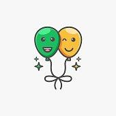 Vector Illustration Balloon Smile Simple Mascot.