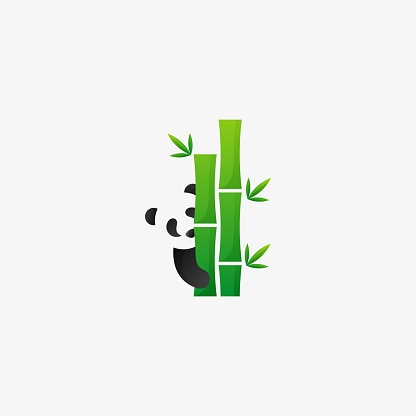 Vector Illustration Bamboo Negative Space Style.