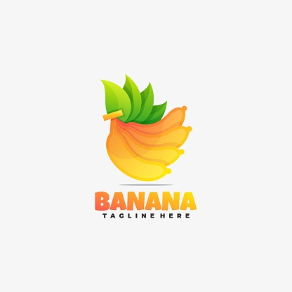 Vector Illustration Banana Gradient Colorful Style.