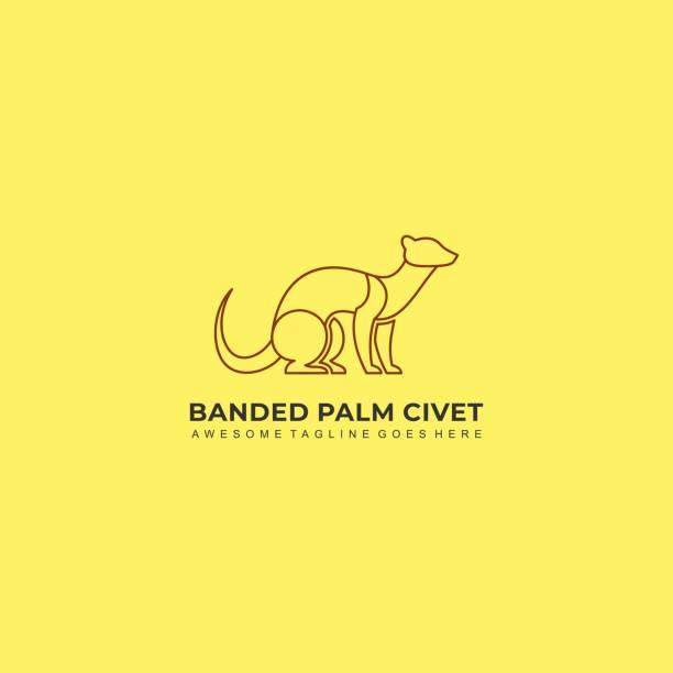 Vector Illustration Banded Palm Civet Sitting Line Art. Vector Illustration Banded Palm Civet Sitting Line Art. postmark stock illustrations