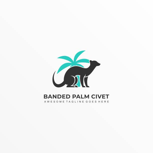 Vector Illustration Banded Palm Civet Sitting silhouette. Vector Illustration Banded Palm Civet Sitting silhouette. mammal stock illustrations