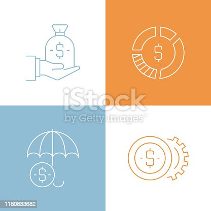 Vector Illustration Banking and Finance Related Thin Line Icons. Editable Vector Stroke.