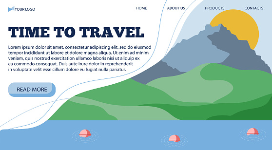 Vector illustration banner template for travel light to the sea, in a flat style.