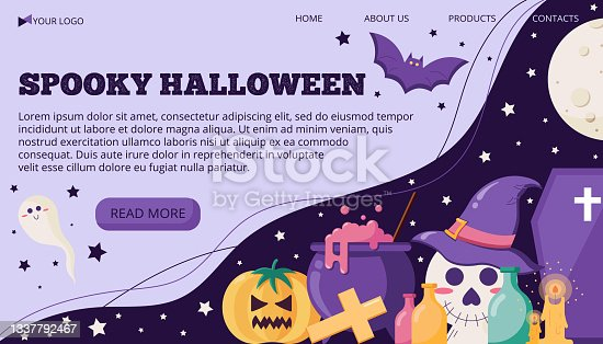 istock Vector illustration banner template with text for halloween with trick or treat objects in a flat style. 1337792467