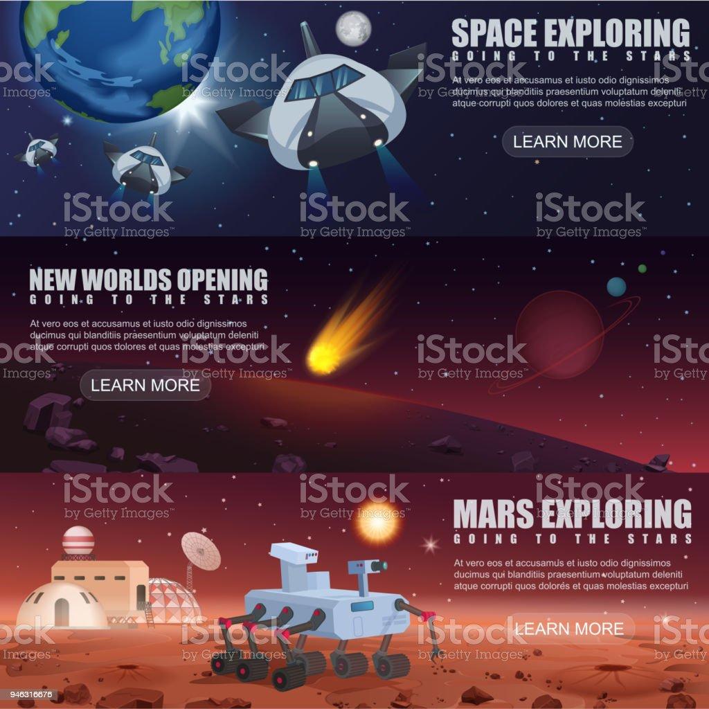 Vector Illustration Banner der Raumfahrt Raumschiffe Exploration, fremden Planeten im Weltraum, Galaxy-Mars-Rover und Kolonisation. – Vektorgrafik
