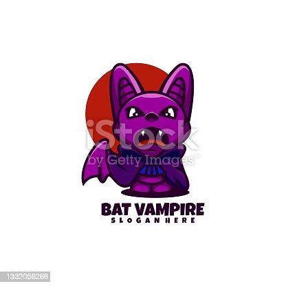 istock Vector Illustration Bat Vampire Simple Mascot Style. 1332056266