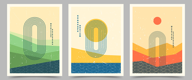 Vector illustration. Bauhaus. Mid century modern graphic. 60s retro funky graphic. Grunge texture. Minimalist landscape set. Abstract shapes. Design elements for poster, book cover, magazine, brochure