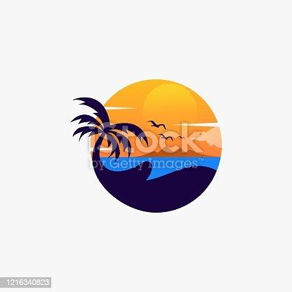 Vector Illustration Beach Landscape Vintage Badge Style.
