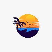 istock Vector Illustration Beach Landscape Vintage Badge Style. 1216340823