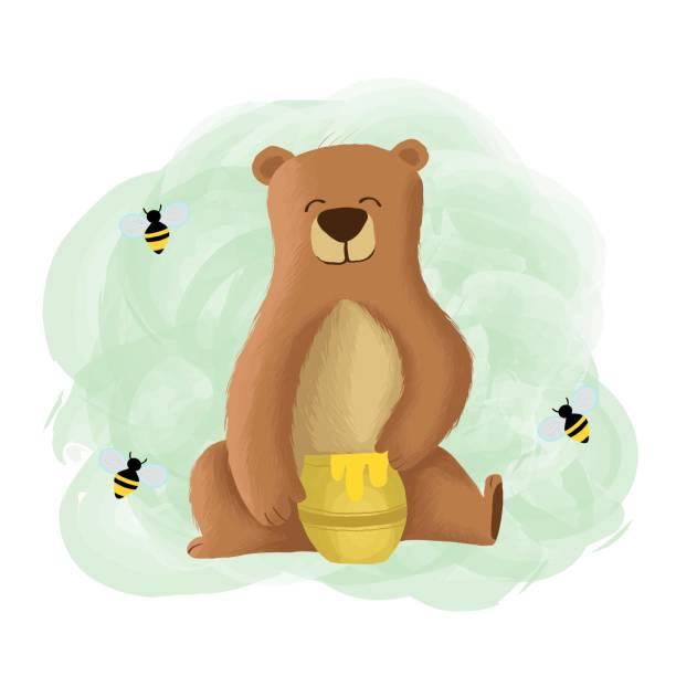Vector Illustration Bear Eat Honey Cute Cartoon. Vector Illustration Bear Eat Honey Cute Cartoon. carnivorous stock illustrations